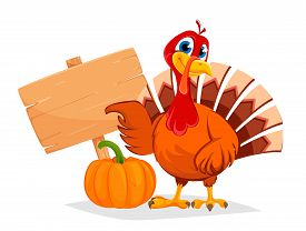 Happy Thanksgiving, Greeting Card, Poster Or Flyer For Holiday. Thanksgiving Turkey Pointing On Wood