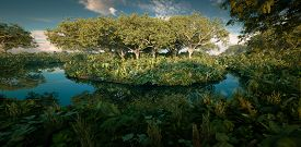 Fantasy Rainforest Isle In The Middle Of Jungle Pond. 3d Rendering Landscape Image.
