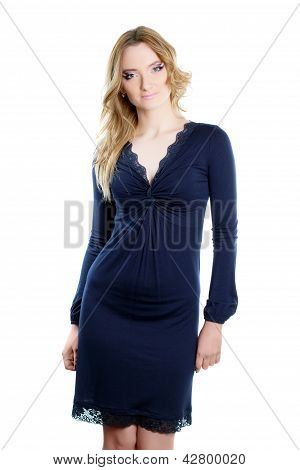 Young Woman In A Dark Blue Dress