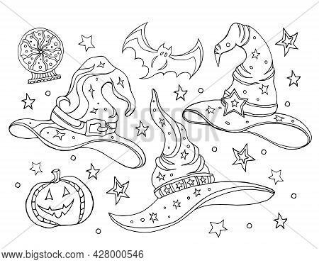 Set With Magic Hats.black And White Vector Illustration Of A Witch Hats,broomstick,crystal Ball . Ha