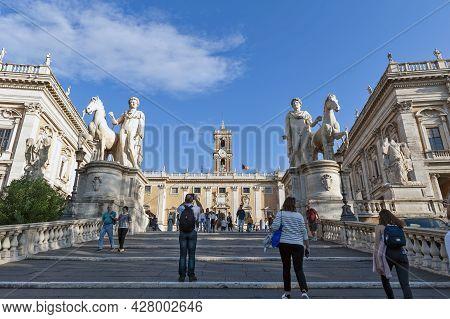 Rome, Italy - October 2019: Cordonata Capitolina Stairway To Senatorial Palace (palazzo Senatorio) A