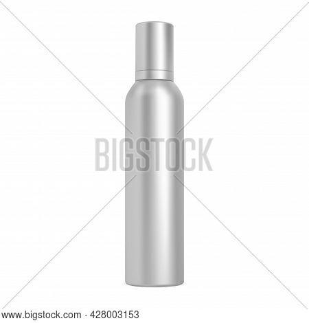 Spray Can. Hairspray Aerosol Bottle, Cosmetic Mockup Blank. Aluminum Cylinder Tube, Silver Chrome Co
