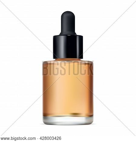 Serum Dropper Bottle. Essential Oil Vector Flask Isolated Mockup. Aromatherapy Eyedropper Jar. Face