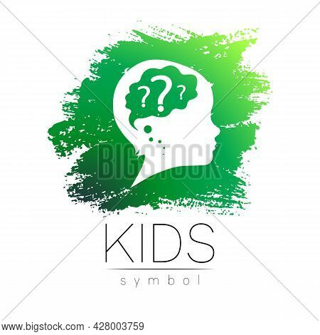 Child Logo Vector Symbol For Teacher Grow Up Kids Silhouette Profile Human Head. Concept Logo For Pe
