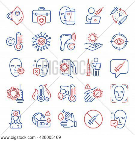 Medical Icons Set. Included Icon As Face Detection, Fever Temperature, Electronic Thermometer Signs.