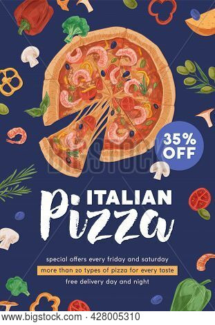 Design Of Vertical Ad Flyer With Realistic Shrimp Pizza With Melting Cheese For Pizzeria And Italian