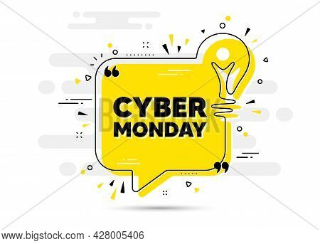 Cyber Monday Sale Text. Yellow Idea Chat Bubble Background. Special Offer Price Sign. Advertising Di