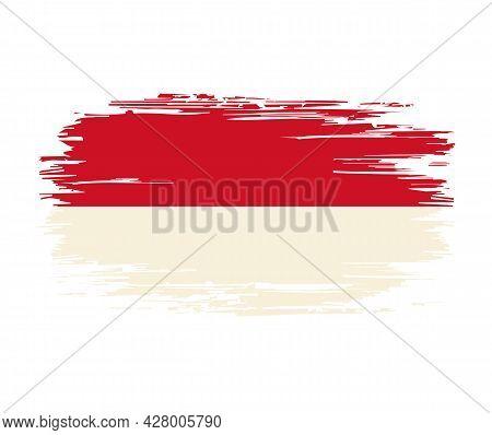 Indonesian Flag Brush Grunge Background. Vector Illustration.