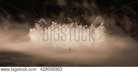Abstract Banner. Real Mystic Smoke Cloud With Water Drops Blast, Steam Flying Motion, Dark Backgroun