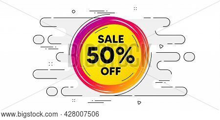 Sale 50 Percent Off Banner. Geometric Ad Banner On Flow Pattern. Discount Sticker Shape. Coupon Star