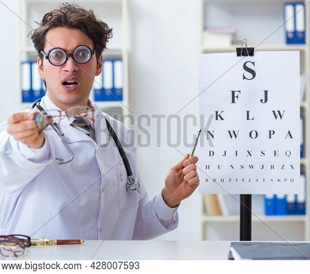 Funny eye doctor in humourous medical concept