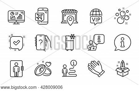 Business Icons Set. Included Icon As Startup, Ask Question, Refrigerator Signs. Vip Internet, Elevat