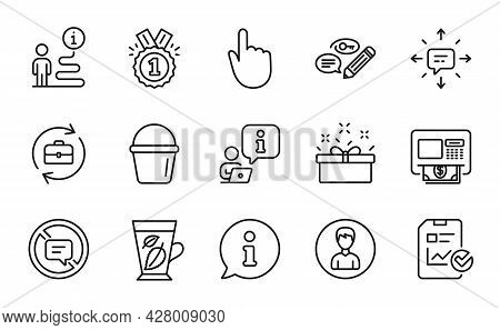 Line Icons Set. Included Icon As Approved, Keywords, Atm Signs. Sms, Report Checklist, Bucket Symbol