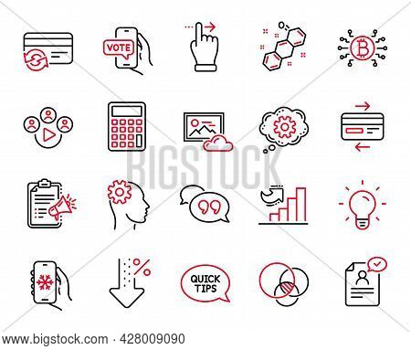 Vector Set Of Technology Icons Related To Resume Document, Engineering And Air Conditioning Icons. C