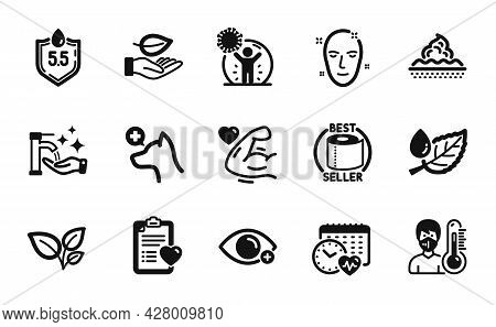 Vector Set Of Toilet Paper, Health Skin And Ph Neutral Icons Simple Set. Leaf Dew, Skin Care And Vet