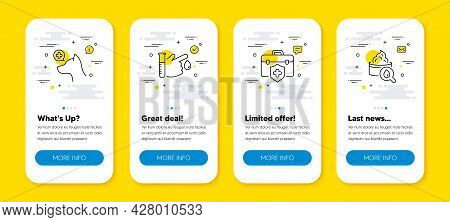 Vector Set Of Medical Insurance, Veterinary Clinic And Blood Donation Line Icons Set. Ui Phone App S
