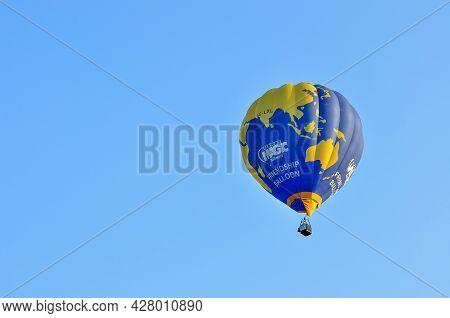 Putrajaya, Malaysia - March 13, 2016 - Hot Air Balloon Floats Over Blue Skies At The 8th Putrajaya I