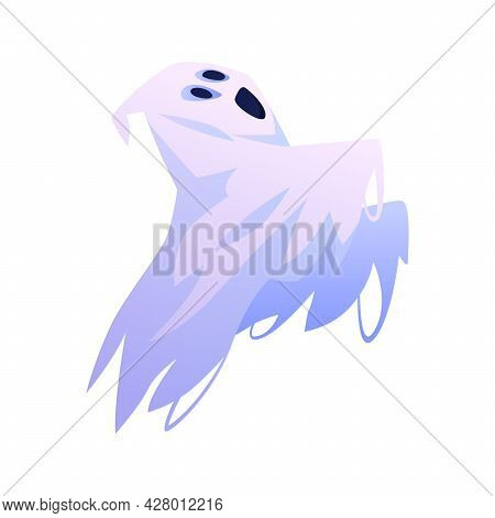 Floating Apparition Screaming And Shouting, Spooky Personage. Isolated Halloween Ghost Costume Or Fa