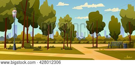 Park Landscape With Cityscape On Background. Vector Blue Sky, Green Trees And Pathway, Wooden Bench