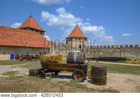 Interior view of medieval Turkish and Russian Bender fortress on Dniester river in Tighina or Bendery, Transnistria, Moldova