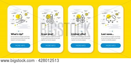 Vector Set Of Gluten Free, Water Care And Thermometer Line Icons Set. Ui Phone App Screens With Line