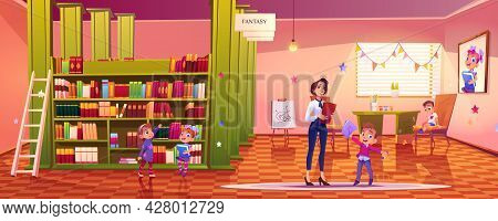 Kids In Library, Teacher And Little Children Stand At Book Shelves In School Or Kindergarten Interio