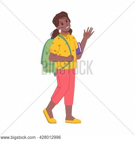 Greeting Child Walking To School Waving Hand, Isolated Female Personage With Satchel And Book. Prete