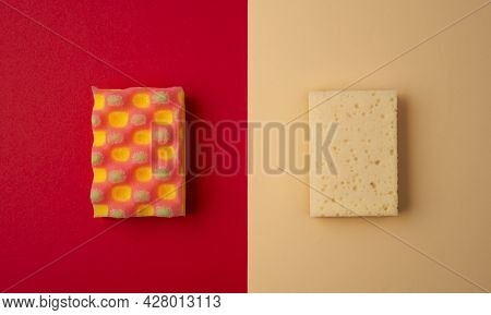 Eco Friendly Sponge Vs Foam Rubber. Zero Waste Concept. Top View On Red And Biege Background. Househ