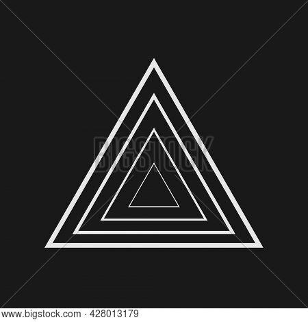 Retrofuturistic Triangle Perspective. Digital Cyber Retro Design Element. Triangle In Cyberpunk 80s