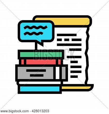 Literature School Lesson Color Icon Vector. Literature School Lesson Sign. Isolated Symbol Illustrat