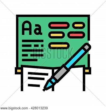 Writing School Lesson Color Icon Vector. Writing School Lesson Sign. Isolated Symbol Illustration