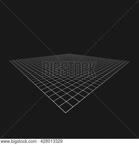 Retrofuturistic Abstract Perspective Grid. Digital Cyber Retro Design Element. Grid In Cyberpunk 80s