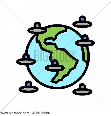 Alien Invasion Of Planet Color Icon Vector. Alien Invasion Of Planet Sign. Isolated Symbol Illustrat