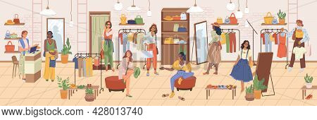 Shopping Woman In Cloth Store, Footwear And Accessories Flat Cartoon Illustration. Vector Clothing S