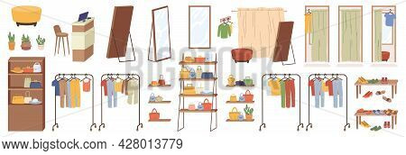 Accessories, Elements Of Shop Furniture Clothing Isolated Flat Cartoon Icons Set. Vector Large Wardr