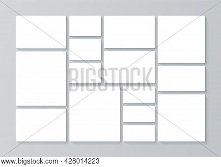 Collage Template. Moodboard Grid. Vector. Mood Board Background. Mosaic Pictures Album Layout. Monta