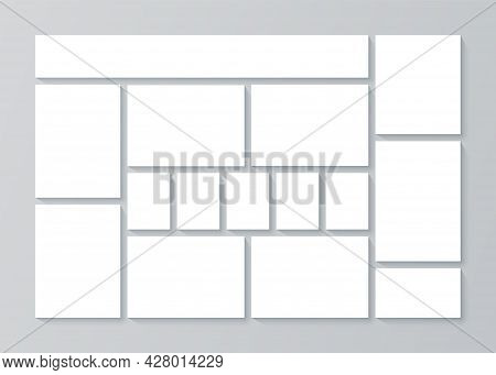 Moodboard Layout. Collage Template. Mood Board Background. Mosaic Pictures Album Grid. Montage Photo
