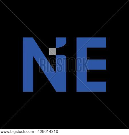 Letter Ne Logo Vector Graphic Illustration With Number One In Negative Space