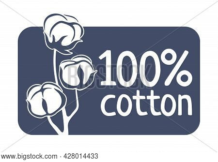 100 Percents Cotton Flat Stamp. Natural Material Of Textile Components - Badge For Natural Breathabl