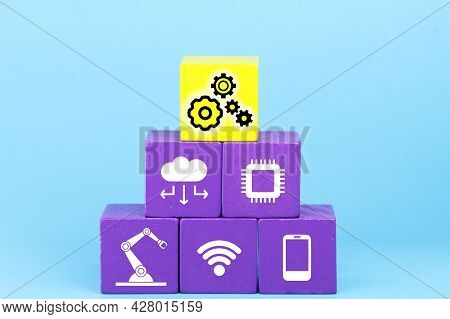 Colored Cubes With Technology Items And The Word Industry 4.0. Industry 4.0 Infographic