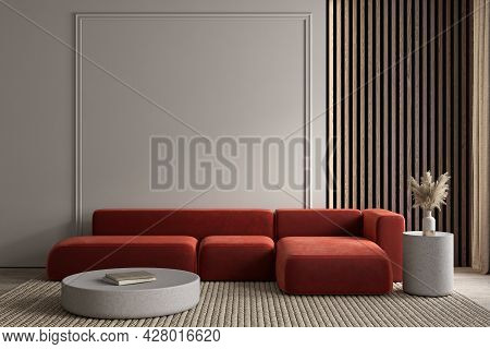 Modern Classic Interior With Red Sofa, Moldings And Decor. 3d Render Illustration Mockup.