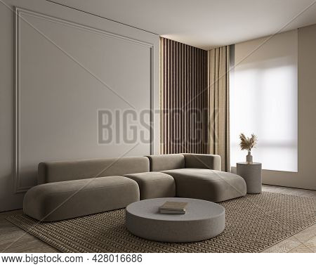 Modern Classic Interior With Sofa, Moldings, Curtain And Decor. 3d Render Illustration Mockup.