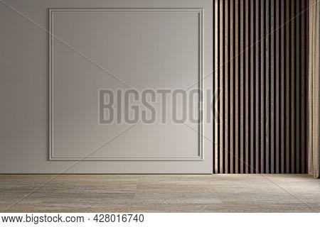 Modern Classic Empty Interior Blank Wall. 3d Render Illustration Mockup.
