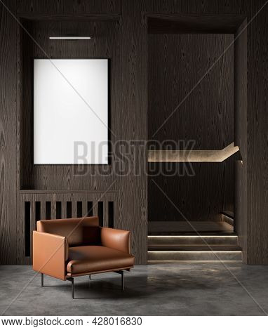 Modern Interior With Wood Wall Panel, Concrete Floor And Orange Armchair. 3d Render Illustration Moc