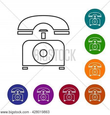 Black Line Telephone Icon Isolated On White Background. Landline Phone. Set Icons In Color Circle Bu
