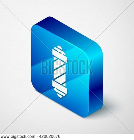 Isometric Classic Barber Shop Pole Icon Isolated On Grey Background. Barbershop Pole Symbol. Blue Sq