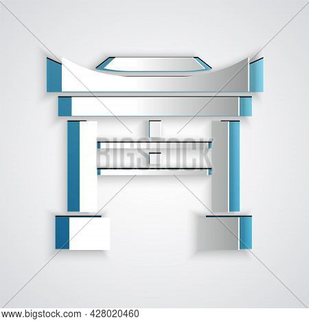 Paper Cut Japan Gate Icon Isolated On Grey Background. Torii Gate Sign. Japanese Traditional Classic