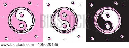 Set Yin Yang Symbol Of Harmony And Balance Icon Isolated On Pink And White, Black Background. Vector