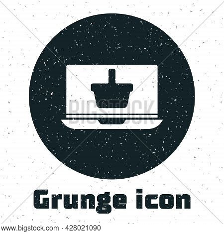 Grunge Shopping Basket On Screen Laptop Icon Isolated On White Background. Concept E-commerce, E-bus