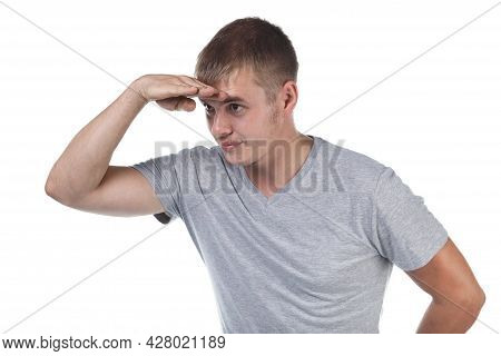 Photo Of Young Man With Bristle Looking Forward